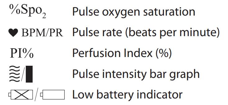 Mabis Dmi Healthsmart Pulse Oximeter Display Symbols Guide